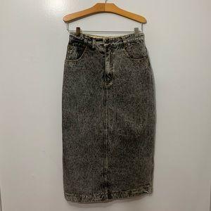 Vintage Jordache Acid Washed Denim Pencil Skirt